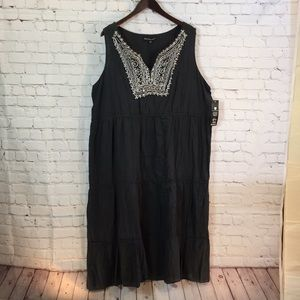 NWT Mlle Gabrielle tiered dress embroidered yoke